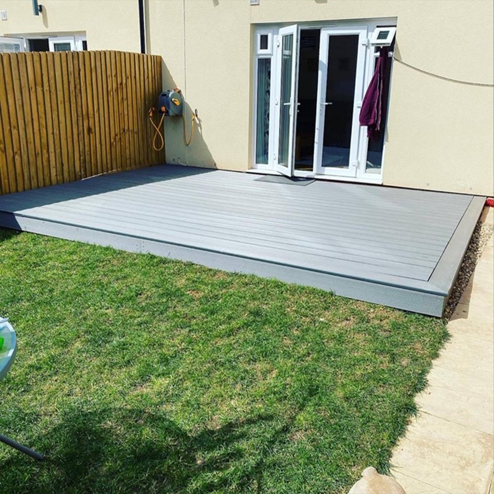 Cladco stone grey decking in hollow