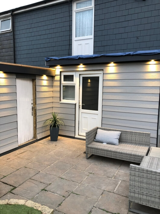 Outdoor space with Cladco Fibre Cement Wall Cladding