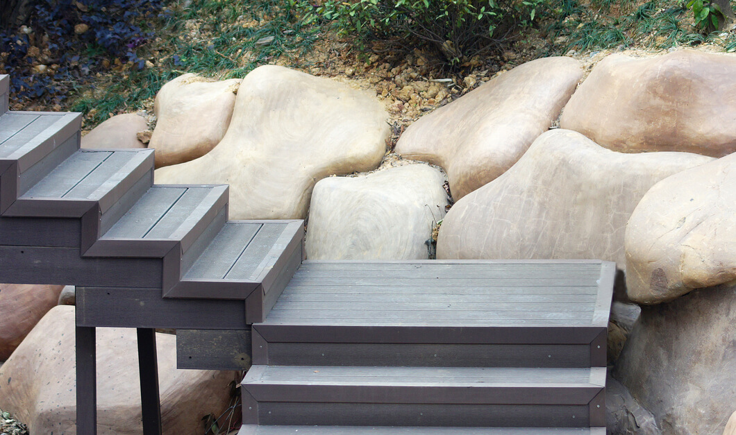 Decking with matching raised stairs