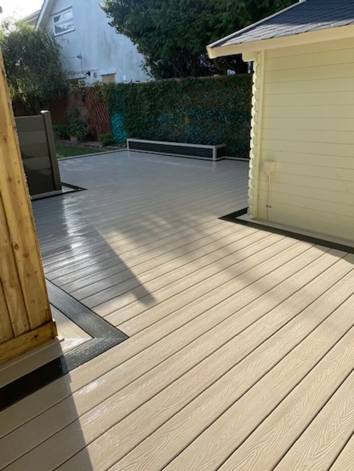 Decking Boards with an Olive Green Picture Frame