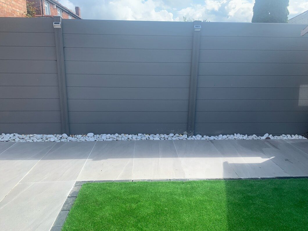 Fence using Cladco Composite Stone Grey Fencing Panels