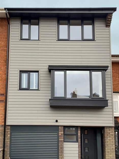 Home using Cladco Composite Stone Grey Wall Cladding installed horizontally