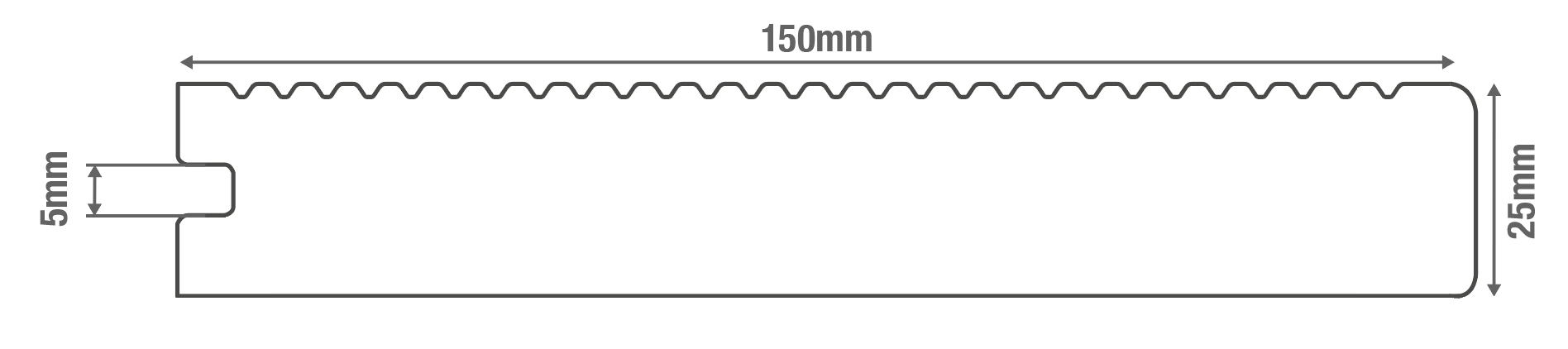 Solid Commercial Grade Bullnose Composite Decking Board Diagram