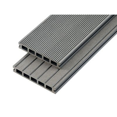 4m Hollow Domestic Grade Composite Decking Board in Stone Grey