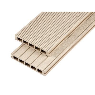 4m Hollow Domestic Grade Composite Decking Board in Ivory