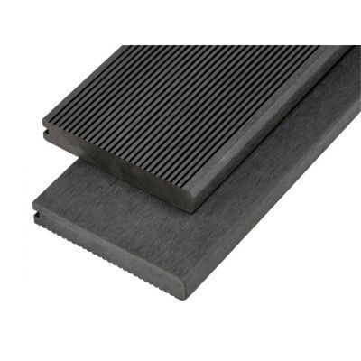 4m Solid Commercial Grade Bullnose Composite Decking Board in Charcoal