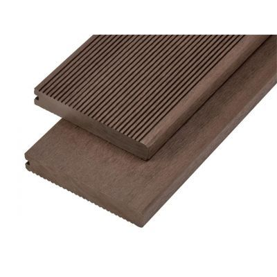 4m Solid Commercial Grade Bullnose Composite Decking Board in Coffee