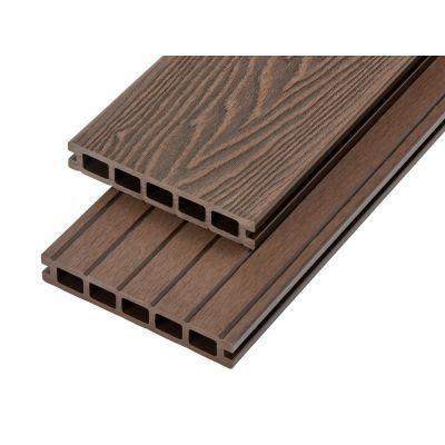 4m Woodgrain Effect Hollow Domestic Grade Composite Decking Board in Coffee