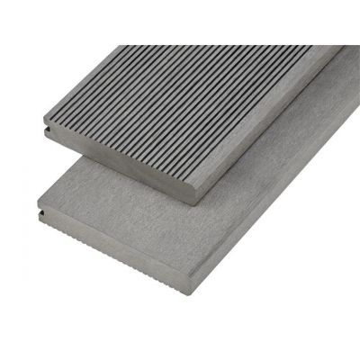 4m Solid Commercial Grade Bullnose Composite Decking Board in Light Grey