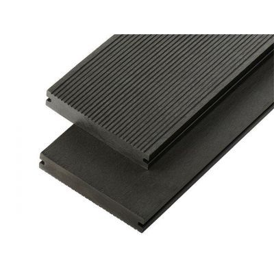 4m Solid Commercial Grade Composite Decking Board in Charcoal