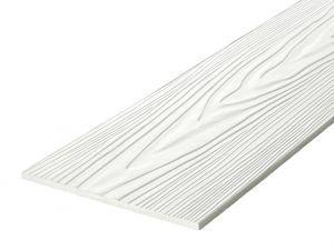 Fibre Cement Wall Cladding, White woodgrain C01/RAL 9016, 210mm x 8mm, 3.66m length