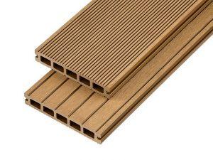 4m Hollow Domestic Grade Composite Decking Board in Teak