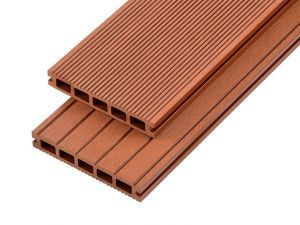 2.4m Hollow Domestic Grade Composite Decking Board in Redwood