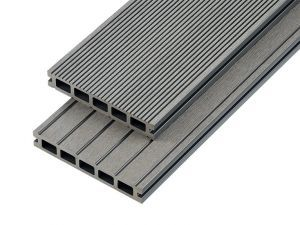 2.4m Hollow Domestic Grade Composite Decking Board in Stone Grey