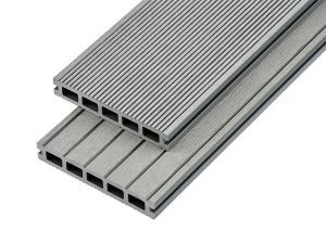 4m Hollow Domestic Grade Composite Decking Board in Light Grey