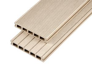 2.4m Hollow Domestic Grade Composite Decking Board in Ivory
