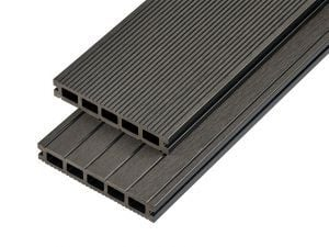 4m Hollow Domestic Grade Composite Decking Board in Charcoal
