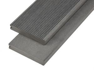 4m Solid Commercial Grade Bullnose Composite Decking Board in Stone Grey