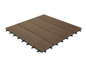 Woodgrain Effect Composite Decking Tile, Large (600mm x 600mm)-Coffee