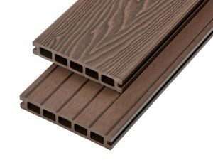 2.4m Woodgrain Effect Hollow Domestic Grade Composite Decking Board in Coffee