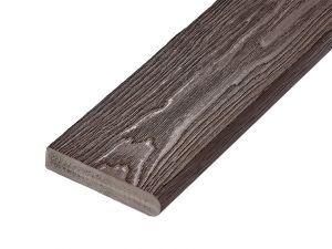 PVC-ASA Bullnose board 150x32mm Woodgrain sanding Ebony 3.6m