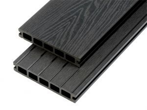 4m Woodgrain Effect Hollow Domestic Grade Composite Decking Board in Charcoal