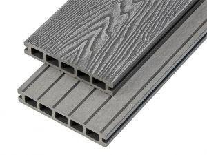 4m Woodgrain Effect Hollow Domestic Grade Composite Decking Board in Stone Grey
