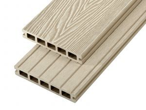 2.4m Woodgrain Effect Hollow Domestic Grade Composite Decking Board in Ivory