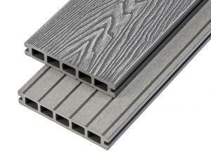4m Woodgrain Effect Hollow Domestic Grade Composite Decking Board in Light Grey