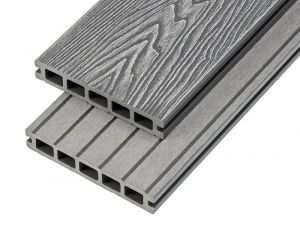 2.4m Woodgrain Effect Hollow Domestic Grade Composite Decking Board in Light Grey