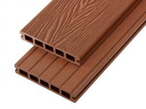 2.4m Woodgrain Effect Hollow Domestic Grade Composite Decking Board in Redwood