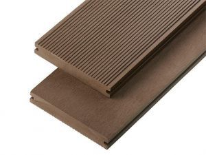 2.4m Solid Commercial Grade Composite Decking Board in Coffee