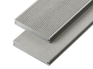 4m Solid Commercial Grade Composite Decking Board in Light Grey