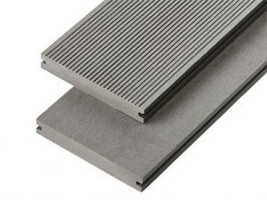 2.4m Solid Commercial Grade Composite Decking Board in Stone Grey