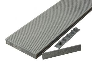 Hollow Composite Decking End Caps in Stone Grey