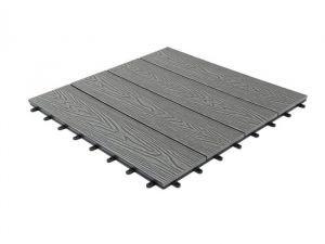 Woodgrain Effect Composite Decking Tile, Large (600mm x 600mm)-Stone Grey