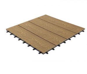 Woodgrain Effect Composite Decking Tile, Large (600mm x 600mm)-Teak