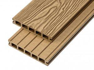 2.4m Woodgrain Effect Hollow Domestic Grade Composite Decking Board in Teak