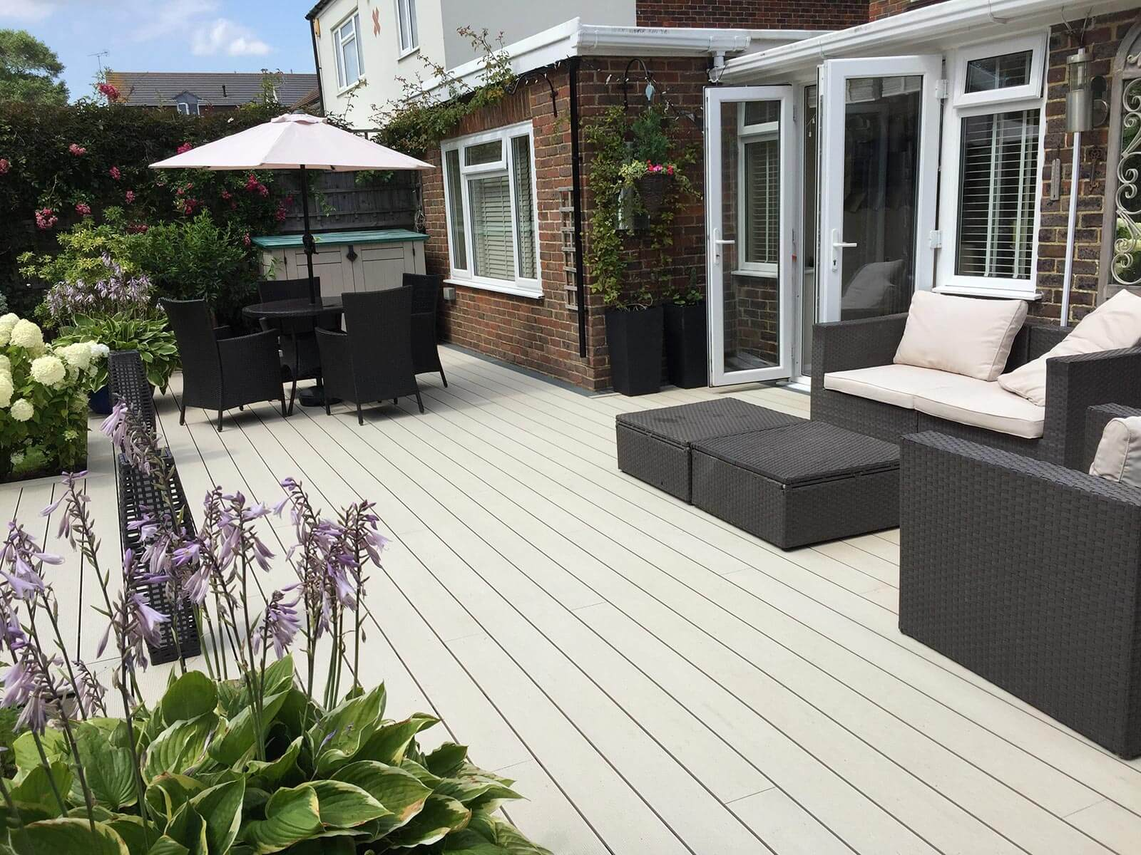 Cladco Composite Decking Boards in Ivory.