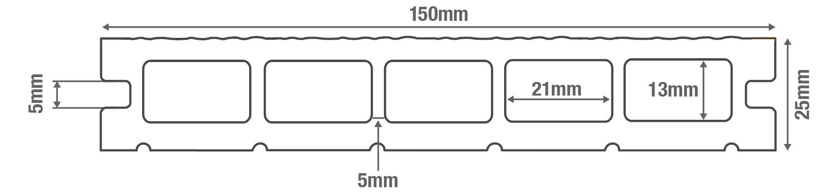 Woodgrain Effect Hollow Domestic Grade Composite Decking Board Diagram